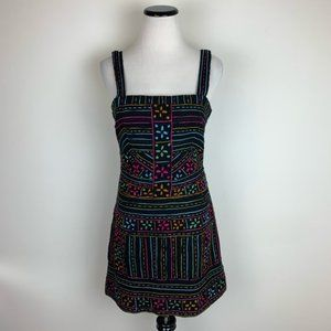 Free People Embroidered Striped Dress Black Pink